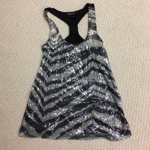 Black and silver sequin top